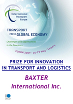 Prize for Innovation in Transport and Logistics along the Global Supply Chain: Baxter International. Click to download